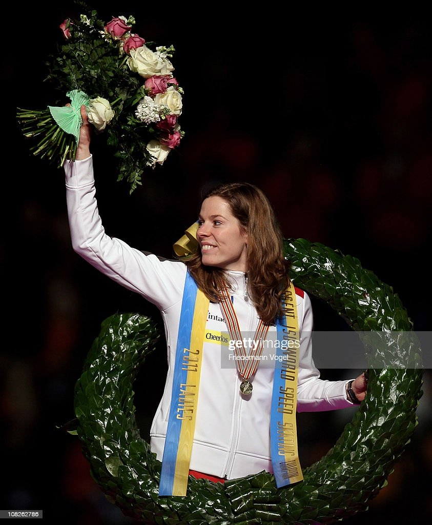 <a gi-track='captionPersonalityLinkClicked' href=/galleries/search?phrase=Christine+Nesbitt&family=editorial&specificpeople=767742 ng-click='$event.stopPropagation()'>Christine Nesbitt</a> of Canada celebrates on the podium after winning the ISU World sprint speed skating Championships on January 23, 2011 in Heerenveen, Netherlands.
