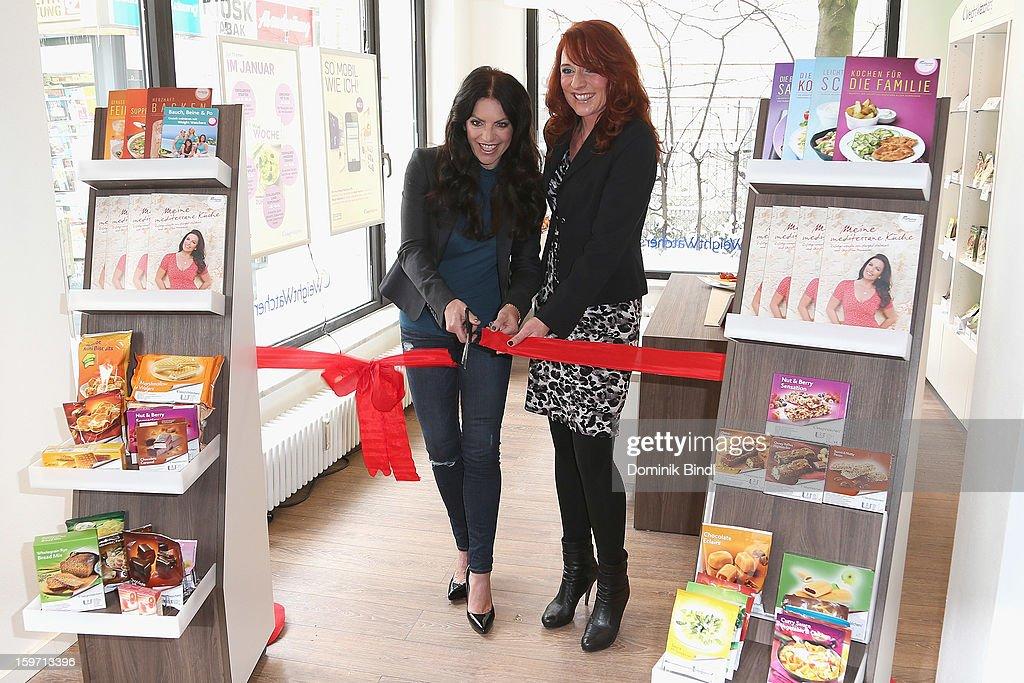 Christine Neubauer and Britta Ziskoven Open Weight Watcher Center on January 19, 2013 in Munich, Germany.