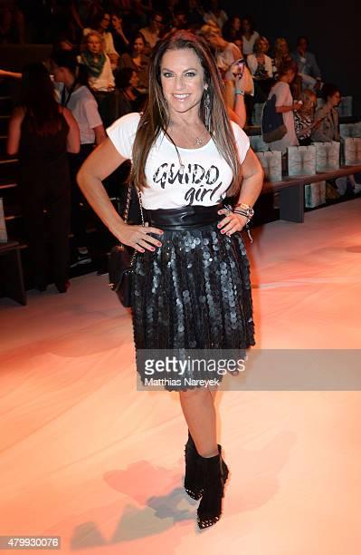 Christine Neubauer attends the Guido Maria Kretschmer show during the MercedesBenz Fashion Week Berlin Spring/Summer 2016 at Brandenburg Gate on July...