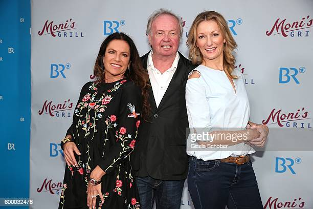 Christine Neubauer Director FranzXaver Bogner and Monika Gruber during the preview for the series 'Moni's Grill' at 'Atelier' cinema on September 7...