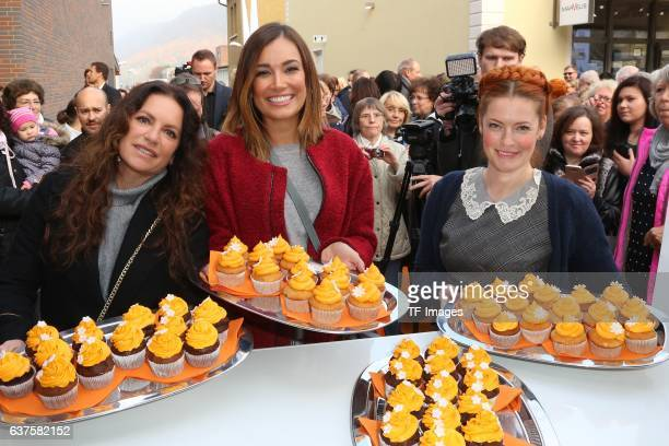 Christine Neubauer Jana Ina Zarella Enie van de Meiklokjes attend the opening of the City Outlet Geislingen on October 27 2016 in Geislingen Germany