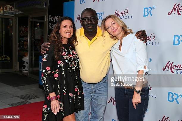 Christine Neubauer Thiendou Isaak Cisse and Monika Gruber during the preview for the series 'Moni's Grill' at 'Atelier' cinema on September 7 2016 in...