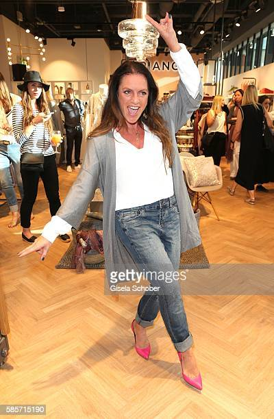 Christine Neubauer wearing an outfit by Triangle during the TRIANGLE store opening at Riem Arcaden on August 3 2016 in Munich Germany