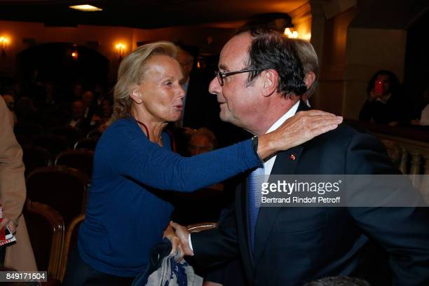 Christine Ockrent and former French President Francois Hollande attend 'La vraie vie' Theater Play at Theatre Edouard VII on September 18 2017 in...