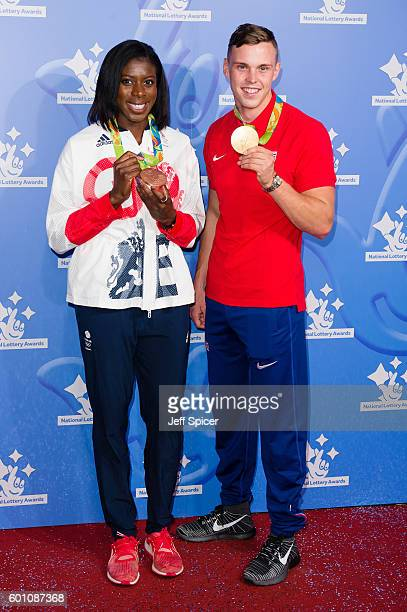 Christine Ohuruogo and Joe Clarke arrive for the National Lottery Awards 2016 at The London Studios on September 9 2016 in London England