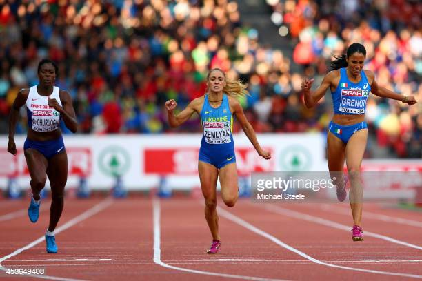 Christine Ohuruogu of Great Britain and Northern Ireland Olha Zemlyak of Ukraine and Libania Grenot of Italy compete in the Women's 400 metres final...