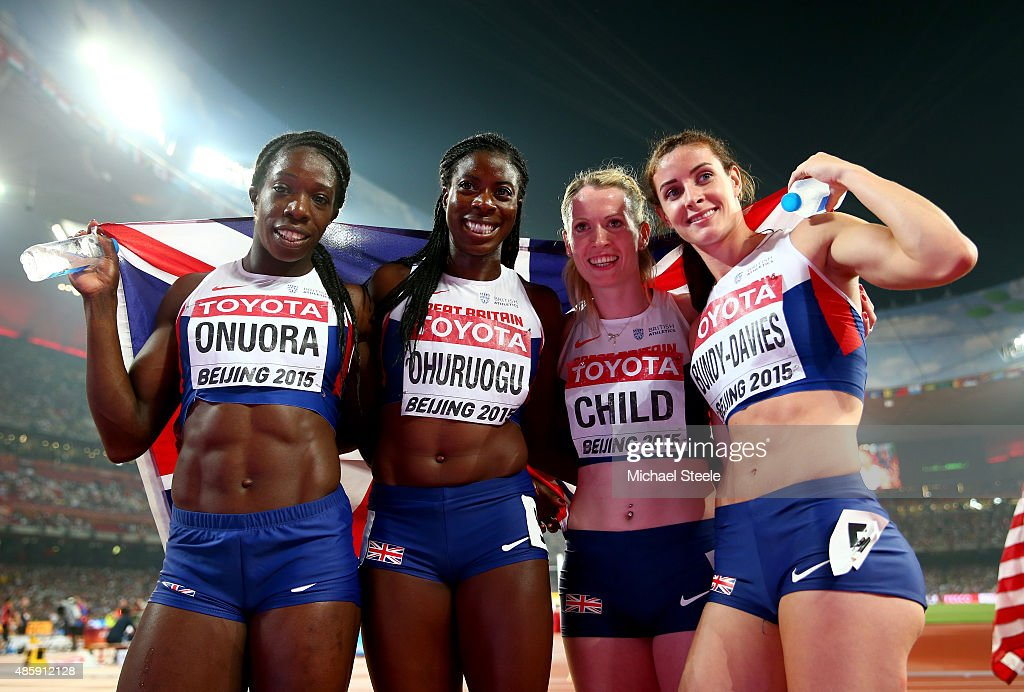 <a gi-track='captionPersonalityLinkClicked' href=/galleries/search?phrase=Christine+Ohuruogu&family=editorial&specificpeople=703549 ng-click='$event.stopPropagation()'>Christine Ohuruogu</a> of Great Britain, <a gi-track='captionPersonalityLinkClicked' href=/galleries/search?phrase=Anyika+Onuora&family=editorial&specificpeople=740583 ng-click='$event.stopPropagation()'>Anyika Onuora</a> of Great Britain, <a gi-track='captionPersonalityLinkClicked' href=/galleries/search?phrase=Eilidh+Child&family=editorial&specificpeople=6146746 ng-click='$event.stopPropagation()'>Eilidh Child</a> of Great Britain and <a gi-track='captionPersonalityLinkClicked' href=/galleries/search?phrase=Seren+Bundy-Davies&family=editorial&specificpeople=13931066 ng-click='$event.stopPropagation()'>Seren Bundy-Davies</a> of Great Britain celebrate after winning bronze in the Women's 4x400 Relay Final during day nine of the 15th IAAF World Athletics Championships Beijing 2015 at Beijing National Stadium on August 30, 2015 in Beijing, China.