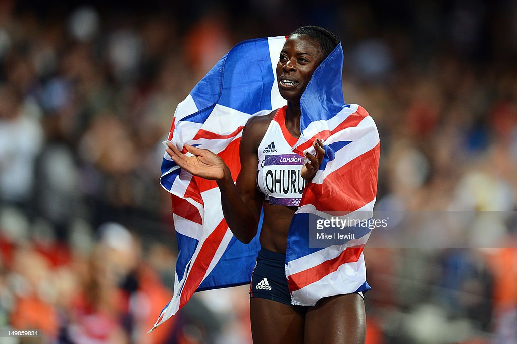 <a gi-track='captionPersonalityLinkClicked' href=/galleries/search?phrase=Christine+Ohuruogu&family=editorial&specificpeople=703549 ng-click='$event.stopPropagation()'>Christine Ohuruogu</a> of Great Britain celebrates after winning the silver medla in the Women's 400m final on Day 9 of the London 2012 Olympic Games at the Olympic Stadium on August 5, 2012 in London, England.