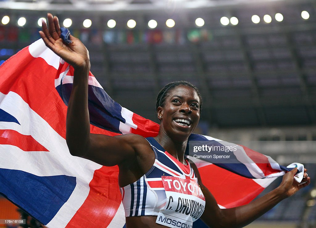 <a gi-track='captionPersonalityLinkClicked' href=/galleries/search?phrase=Christine+Ohuruogu&family=editorial&specificpeople=703549 ng-click='$event.stopPropagation()'>Christine Ohuruogu</a> of Great Britain celebrates winning gold in the Women's 400 metres final during Day Three of the 14th IAAF World Athletics Championships Moscow 2013 at Luzhniki Stadium on August 12, 2013 in Moscow, Russia.