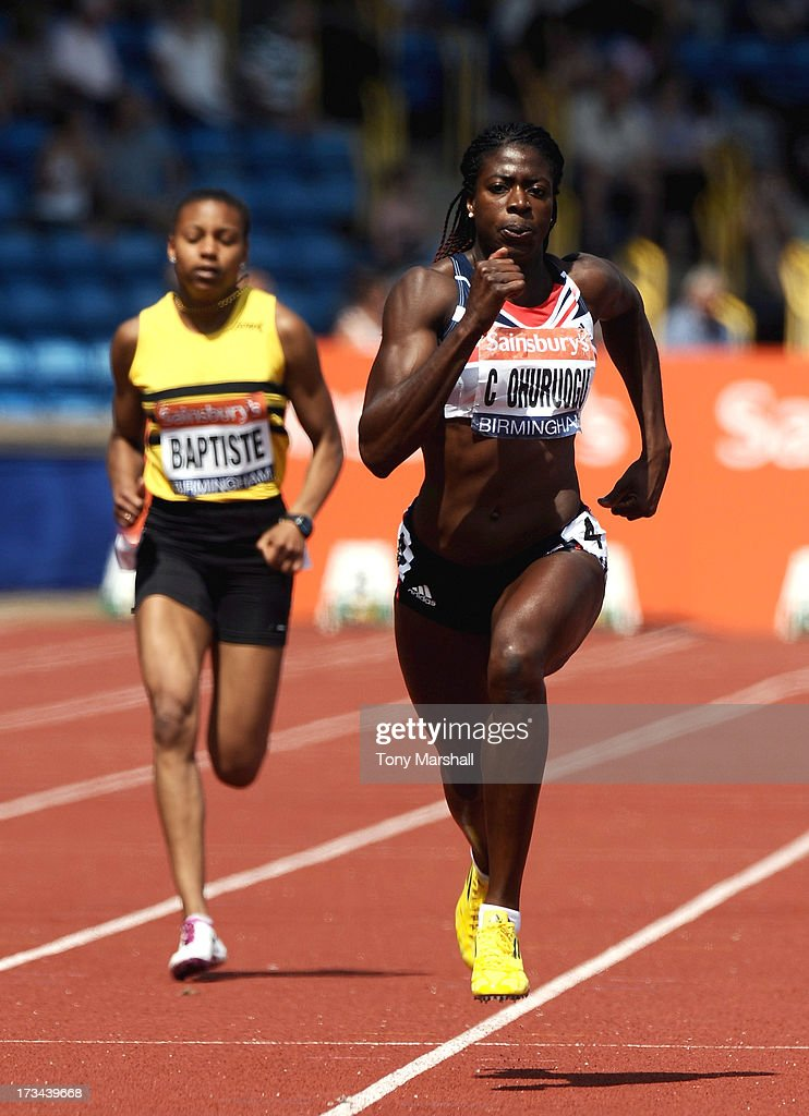 Christine Ohuruogu of Newham and Essex Beagles competing in the heats of the Womens 200m during the Sainsbury's British Championships Birmingham - British Athletics World Trials and UK & England Championships: Day Three at Alexander Stadium on July 14, 2013 in Birmingham, England.