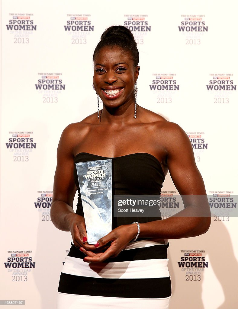 <a gi-track='captionPersonalityLinkClicked' href=/galleries/search?phrase=Christine+Ohuruogu&family=editorial&specificpeople=703549 ng-click='$event.stopPropagation()'>Christine Ohuruogu</a> poses in the winners room after winning the Sportswoman of the year award at The Sunday Times & Sky Sports Sportswomen of the Year awards at Sky on December 5, 2013 in Isleworth, England.