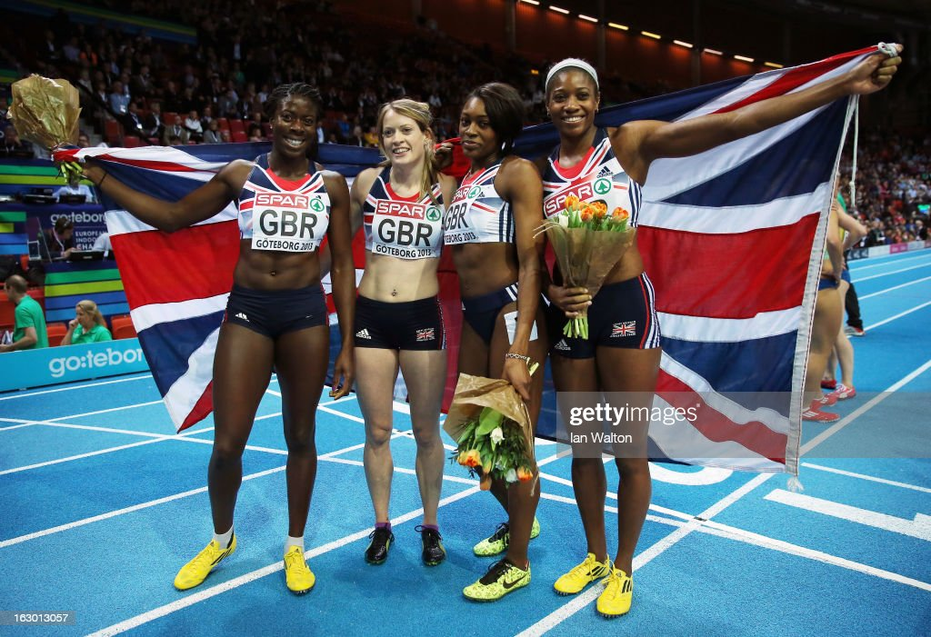 Christine Ohuruogu,Eilidh Child, Shana Cox and Perri Shakes-Drayton of Great Britain and Northern Ireland win gold in the Women's 4x400m Relay Final during day three of European Indoor Athletics at Scandinavium on March 3, 2013 in Gothenburg, Sweden.