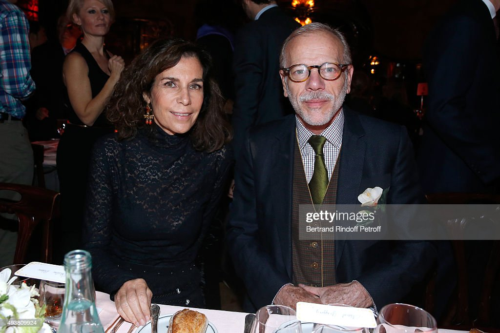 Christine Orban and Actor Pascal Greggory attend the Dinner in honor of the Artist Adrian Ghenie organized by Thaddaeus Ropac at Maxim's on October 22, 2015 in Paris, France.