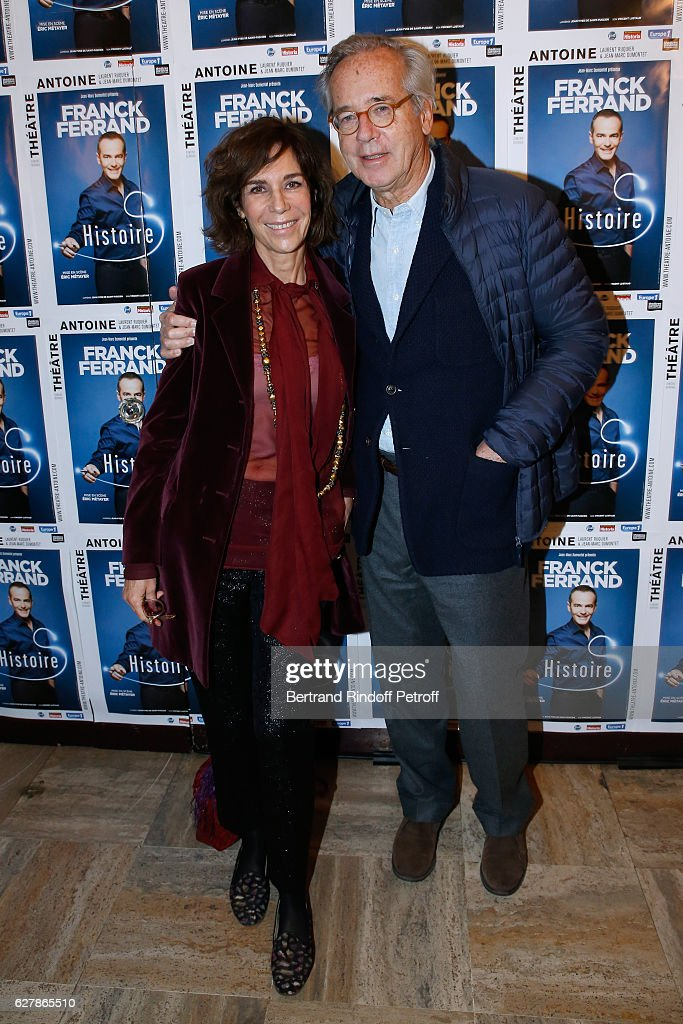Christine Orban and her husband Olivier Orban attend Franck Ferrand performs in his Show 'Histoires' at Theatre Antoine on December 5, 2016 in Paris, France.