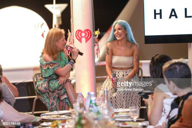 Christine Osekoski and Halsey attend iHeartMedia Women's Salon Dinner iHeartMedia hosts seated dinner of 40 female marketing and agency executives...