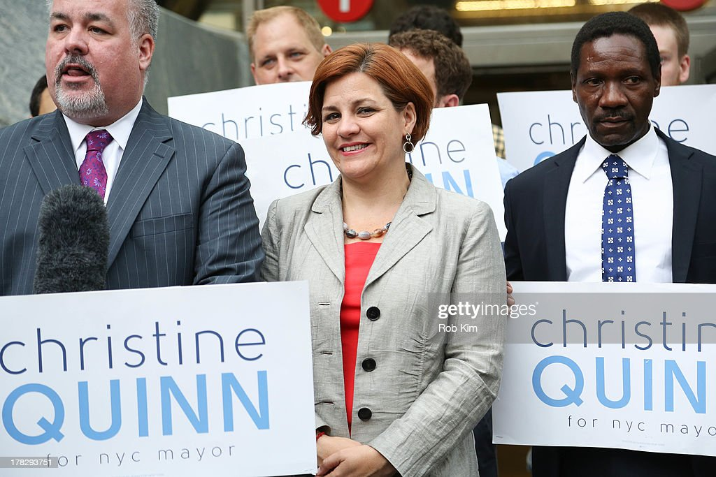 <a gi-track='captionPersonalityLinkClicked' href=/galleries/search?phrase=Christine+Quinn&family=editorial&specificpeople=550180 ng-click='$event.stopPropagation()'>Christine Quinn</a> campaigns in the 2013 New York City Mayoral Race in the Upper West Side on August 28, 2013 in New York City.