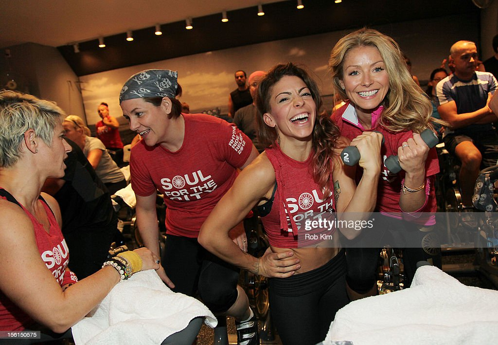 Christine Quinn, instructor Kym Perfetto and Kelly Ripa attend SoulCycle's Soul Relief Rides at SoulCycle Tribeca on November 11, 2012 in New York City.