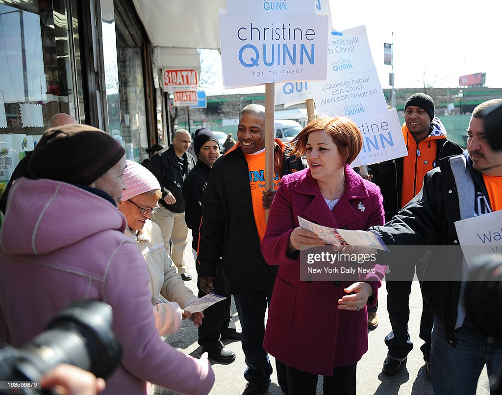 Christine Quinn makes a stop in the Hunts Point Section of the Bronx to announces her candidacy for Mayor on Southern Boulevard in the Bronx.