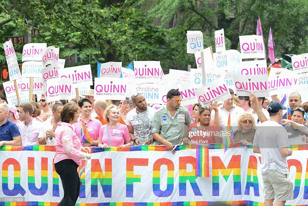 Christine Quinn supporters attend The March during NYC Pride 2013 on June 30, 2013 in New York City.