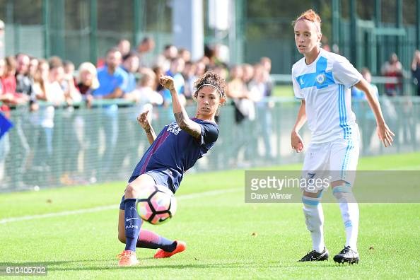 Christine Rozeira of PSG and Nora Coton Pelagie of Marseille during the women's French D1 league match between PSG and Olympique de Marseille at Camp...