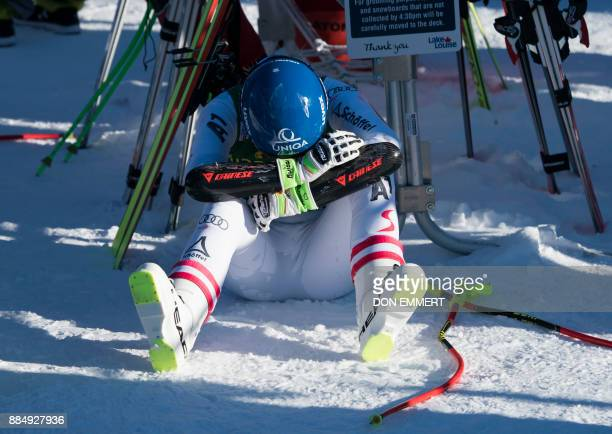 Christine Scheyer of Austria sits in the finish area the FIS Ski World Cup Women's Super G on December 3 2017 in Lake Louise Canada / AFP PHOTO / DON...