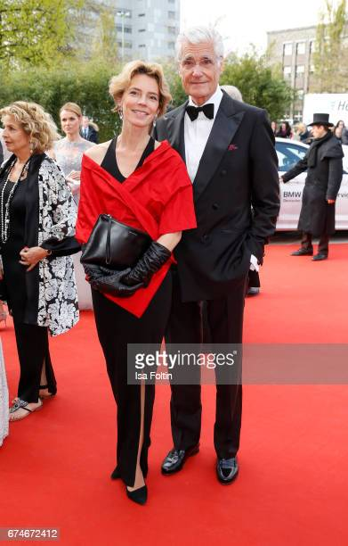 Christine Schuetze and german actor Sky du Mont during the Lola German Film Award red carpet arrivals at Messe Berlin on April 28 2017 in Berlin...