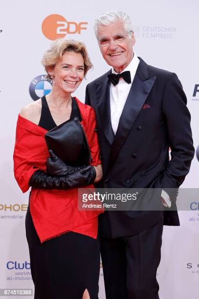 Christine Schuetze and Sky du Mont during the Lola German Film Award red carpet at Messe Berlin on April 28 2017 in Berlin Germany