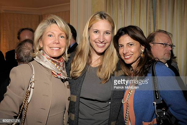 Christine Schwarzman Alison Brokaw and Kalliope Karella attend TINA BROWN VICKY WARD and LA MER host party honoring SUSAN NAGEL'S new book 'Marie...