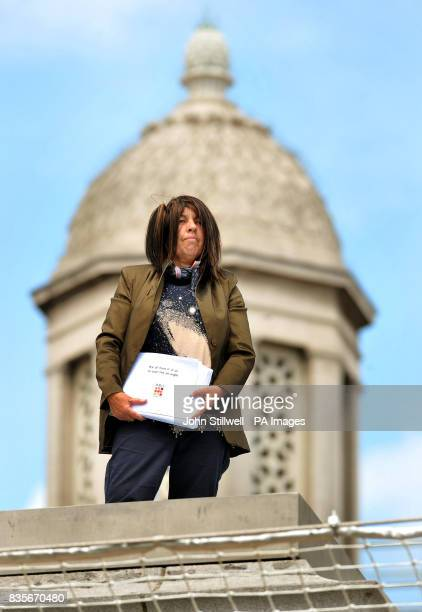Christine Sharman from Wakefield in Yorkshire stands on the Fourth Plinth in Trafalgar Square in central London