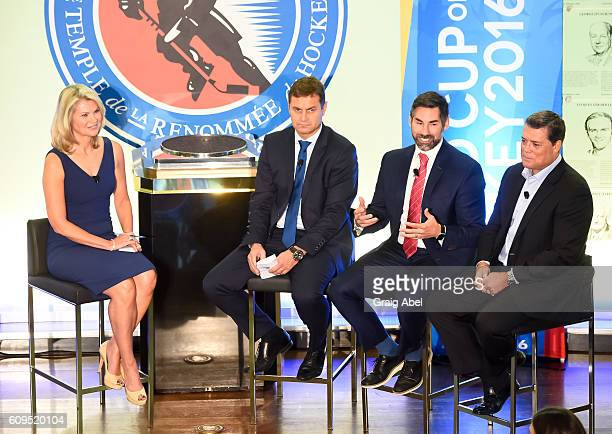 Christine Simpson moderates a panel of Petr Briza Mathieu Schneider and Pat LaFontaine at Hockey SENSE in partnership with the NHL NHLPA and Beyond...