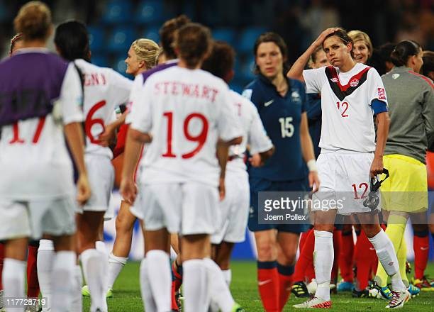 Christine Sinclair of Canada and her team mates are seen after the FIFA Women's World Cup 2011 Group A match between Canada and France at Rewirpower...