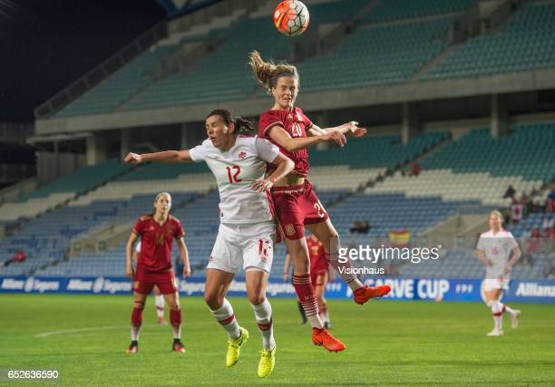Christine Sinclair of Canada and Irene Paredes Hernandez of Spain during the 2017 Algarve Cup Final between Spain and Canada at the Estadio Algarve...