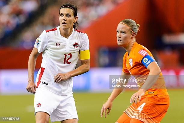 Christine Sinclair of Canada and Mandy Van Den Berg of the Netherlands look towards the play during the 2015 FIFA Women's World Cup Group A match at...