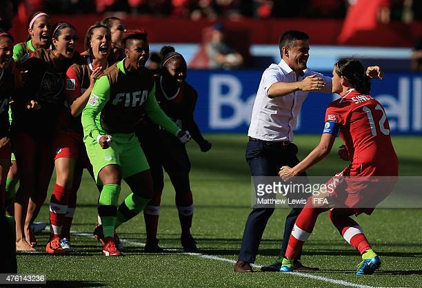 Christine Sinclair of Canada celebrates scoring a penalty during the FIFA Women's World Cup 2015 Group A match between Canada and China PR at...