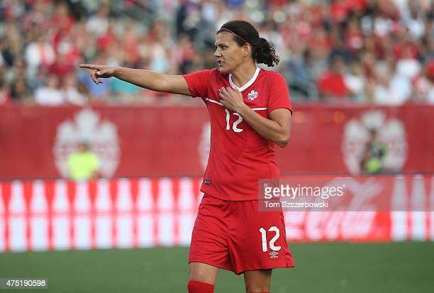 Christine Sinclair of Canada during the match against England during their Womenâs International Friendly match on May 29 2015 at Tim Hortons Field...