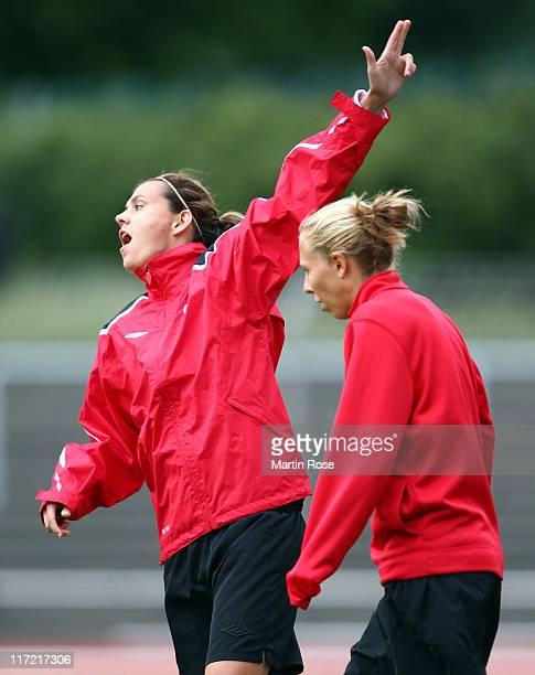 Christine Sinclair of Canada gestures during the Canada Women national team training session at Mommsen stadium on June 24 2011 in Berlin Germany