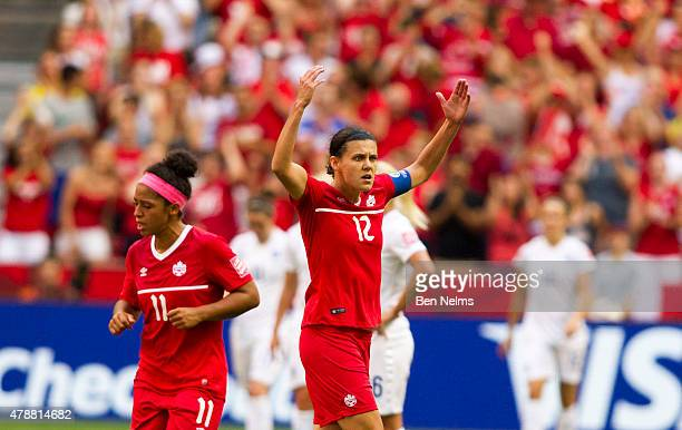 Christine Sinclair of Canada gestures to the crowd after scoring against England during the FIFA Women's World Cup Canada 2015 Quarter Final match...