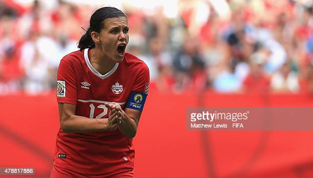 Christine Sinclair of Canada looks to rally her team during the FIFA Women's World Cup 2015 Quarter Final match between England and Canada at BC...