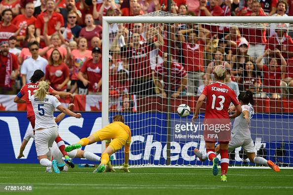 Christine Sinclair of Canada pulls a goal back during the FIFA Women's World Cup 2015 Quarter Final match between England and Canada at BC Place...