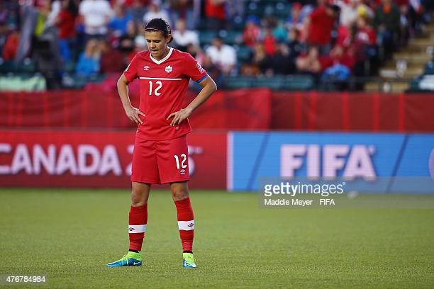 Christine Sinclair of Canada reacts after Canada's 00 tie against New Zealand during the FIFA Women's World Cup Canada 2015 Group A match at...