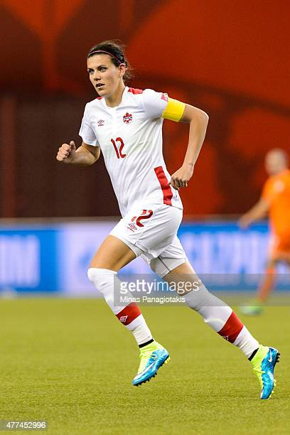 Christine Sinclair of Canada runs during the 2015 FIFA Women's World Cup Group A match against the Netherlands at Olympic Stadium on June 15 2015 in...