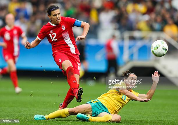 Christine Sinclair of Canada scores their second goal during the match between Canada and Australia womens football for the summer olympics at Arena...