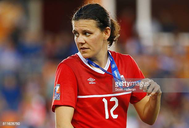 Christine Sinclair of Canada walks across the stage after they were defeated by the United States 20 during the Championship final of the 2016...