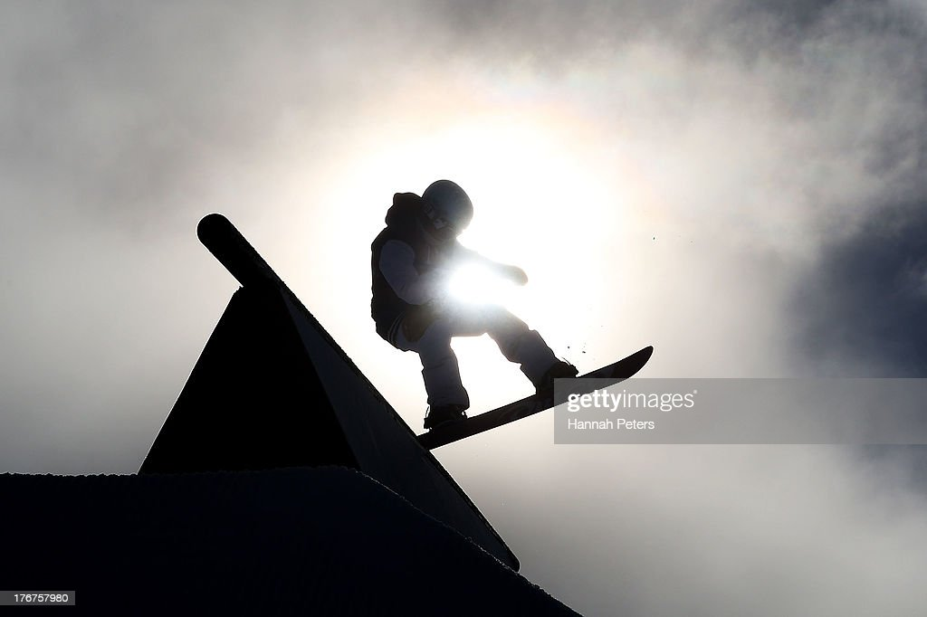Christine Szumovski of Austria competes in the warm up prior to the FIS Snowboard Slopestyle World Cup qualifying during day five of the Winter Games NZ at Cardrona Alpine Resort on August 19, 2013 in Wanaka, New Zealand.