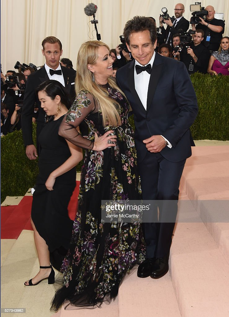 Christine Taylor (L) and Ben Stiller attend the 'Manus x Machina: Fashion In An Age Of Technology' Costume Institute Gala at Metropolitan Museum of Art on May 2, 2016 in New York City.
