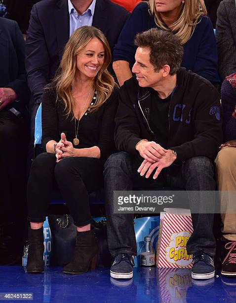 Christine Taylor and Ben Stiller attend the Oklahoma City Thunder vs New York Knicks game at Madison Square Garden on January 28 2015 in New York City