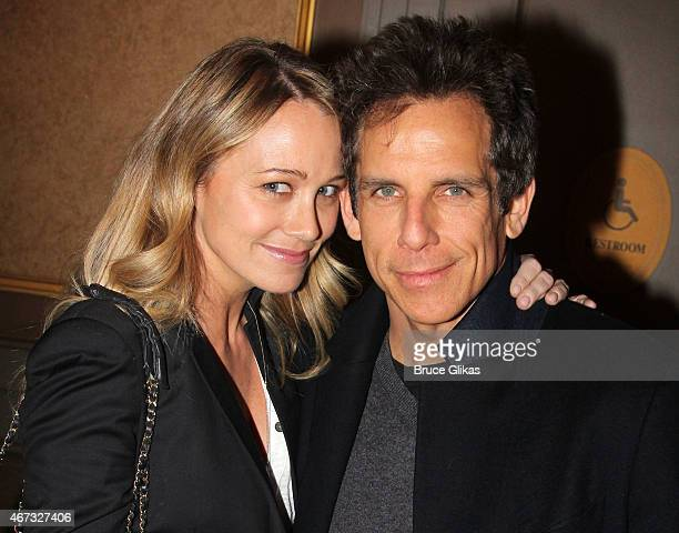 Christine Taylor and husband Ben Stiller pose backstage at 'On The Town' on Broadway at The Lyric Theater on March 22 2015 in New York City