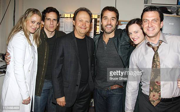 Christine Taylor Ben Stiller Billy Crystal Jeremy Piven Elisabeth Moss and Raul Esparza pose backstage at 'Speed The Plow' on Broadway at The...