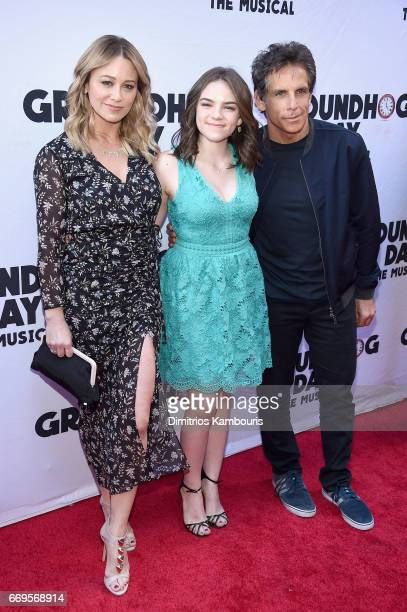 Christine Taylor Ella Olivia Stiller and Ben Stiller attend the 'Groundhog Day' Broadway Opening Night at August Wilson Theatre on April 17 2017 in...