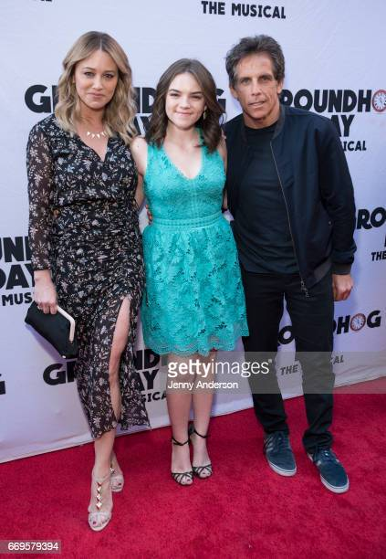 Christine Taylor Ella Stiller and Ben Stiller attend 'Groundhog Day' opening night at August Wilson Theatre on April 17 2017 in New York City